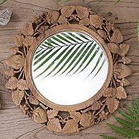 Wood mirror, 'Bedugul Bouquet' - Strawberry Motif Suar Wood Wall Mirror from Bali