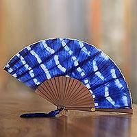 Tie-dyed cotton fan, 'Andira' - Tie Dyed Blue and White Cotton and Wood Hand Fan