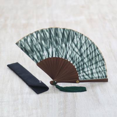 Tie-dyed cotton fan, 'Indira' - Dark Green and White Tie Dyed Cotton Hand Fan
