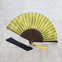Tie-dyed cotton fan, 'Kirana' - Hand Tie Dyed Cotton Hand Fan in Citron and Yellow Hues