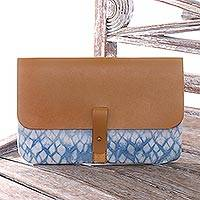 Cotton tie-dyed clutch, 'Anyer Rain' - Blue Shibori Tie-Dyed Cotton Clutch Handbag