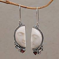Garnet dangle earrings, 'Half of My Soul' - Handcrafted Garnet and Bone Dangle Earrings from Bali