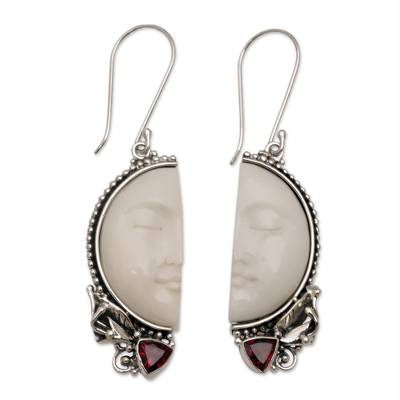 Garnet dangle earrings, 'Half of My Soul' - Handcrafted Garnet and Bone Dangle Earrings from Bali