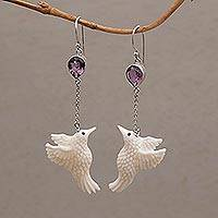 Amethyst dangle earrings, 'Dancing Hummingbirds' - Amethyst and Bone Hummingbird Dangle Earrings from Bali
