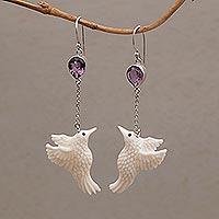 Amethyst dangle earrings, 'Dancing Hummingbirds' - Amethyst and Bone Hummingbird Dangle Earrings from Bali