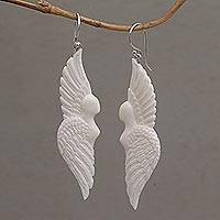 Bone dangle earrings, 'Goddess Wings'