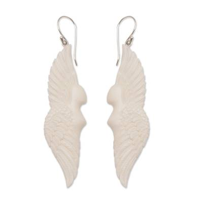Bone dangle earrings, 'Goddess Wings' - Handcrafted Wing-Shaped Bone Dangle Earrings from Bali