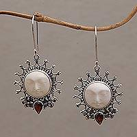 Garnet dangle earrings, 'Sunny Soul' - Handcrafted Sun-Themed Garnet Dangle Earrings from Bali
