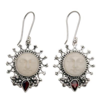 Garnet dangle earrings, 'Sunny Soul' - Handcrafted Sun-Themed Garnet Dangle Earrings from Bali