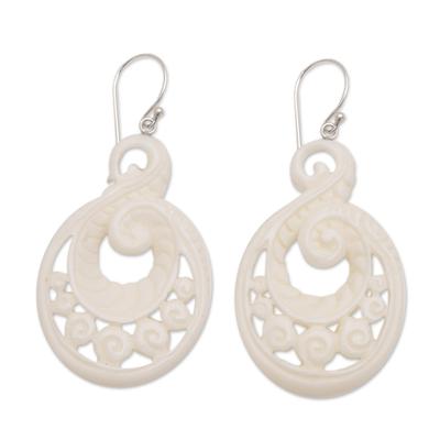 Bone dangle earrings, 'Swirling Scales' - Handcrafted Bone Spiral Motif Dangle Earrings from Bali