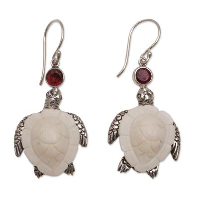 Garnet dangle earrings, 'Kurma Turtles' - Handmade Garnet and Bone Turtle Dangle Earrings from Bali