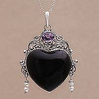 Amethyst and cultured pearl pendant necklace, 'Love Like Midnight'
