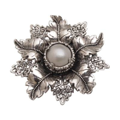 Cultured pearl brooch pin, 'Moonside Flower' - Artisan Crafted Floral Cultured Pearl Brooch from Bali