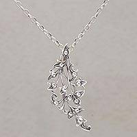 Sterling silver pendant necklace, 'Leafy Glisten' - Leafy Sterling Silver Pendant Necklace from Bali