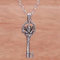 Sterling silver pendant necklace, 'Key of Truth'