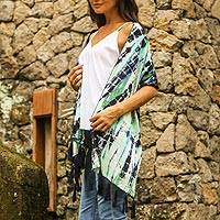 Tied-dyed rayon scarf, 'Dancing at Midnight' - Tie Dyed Rayon Scarf in Blue and Green from Bali