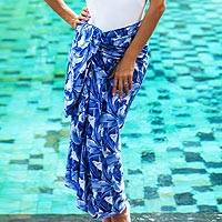 Rayon sarong, 'Plains of Paradise in Blue' - Indonesian Hand Stamped Leaf Motif Blue Rayon Sarong