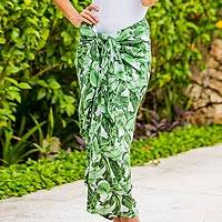 Rayon sarong, 'Plains of Paradise in Green' - Balinese Green 100% Rayon Sarong in Hand Stamped Leaf Motif