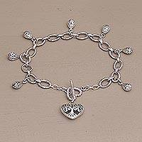 Sterling silver charm bracelet, 'The Garden in my Heart' - Romantic Sterling Silver Link Bracelet with Heart Charm