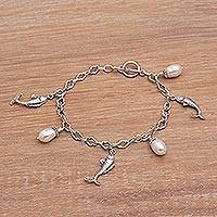 Cultured pearl charm bracelet, 'Shimmering Koi' - Hand Crafted Cultured Pearl Charm Fish Bracelet from Bali