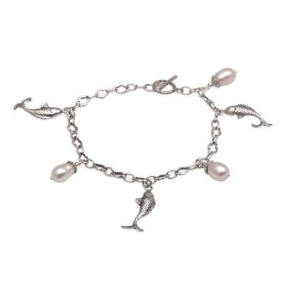 Hand Crafted Cultured Pearl Charm Fish Bracelet from Bali