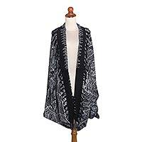 Rayon batik jacket, 'Autumnal Leaves' - Balinese Hand-Stamped Black and Pale Grey Open Shrug Jacket