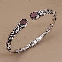 Garnet cuff bracelet, 'Looking for You' - Balinese Sterling Silver and Garnet Hinged Cuff Bracelet
