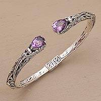 Amethyst cuff bracelet, 'Looking for You' - Sterling Silver Hinged Amethyst Cuff Bracelet from Bali