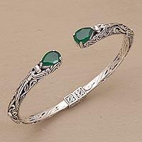 Quartz cuff bracelet, 'Looking for You' - Balinese Green Quartz Sterling Silver Hinged Cuff Bracelet