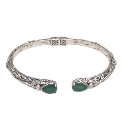Quartz cuff bracelet, 'Looking for You' - Balinese Green Quartz Sterling Silver Hinged Cuff Bracelet