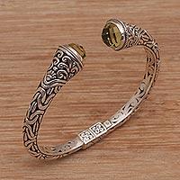 Prasiolite cuff bracelet, 'Our Two Souls' - Balinese Style Hinged 925 Silver Prasiolite Cuff Bracelet