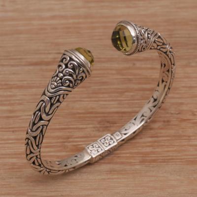 d355b76ce Prasiolite cuff bracelet, 'Our Two Souls' - Balinese Style Hinged 925  Silver Prasiolite