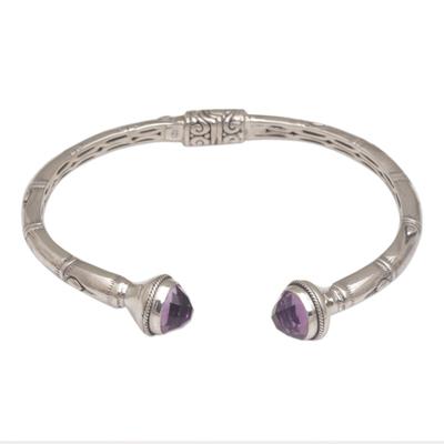 Amethyst cuff bracelet, 'Talk to Me' - Balinese Style Hinged Silver Cuff Bracelet with Amethyst