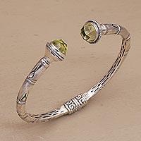 Prasiolite cuff bracelet, 'Talk to Me' - Sterling Silver and Prasiolite Hinged Balinese Cuff Bracelet