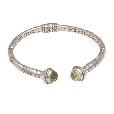 Sterling Silver and Prasiolite Hinged Balinese Cuff Bracelet