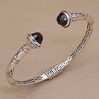 Onyx cuff bracelet, 'Talk to Me' - Sterling Silver and Onyx Hinged Balinese Cuff Bracelet
