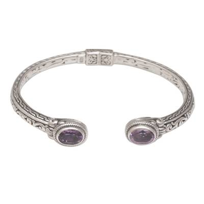 Amethyst cuff bracelet, 'Magical Attraction' - Modern Balinese Amethyst and 925 Silver Cuff Bracelet