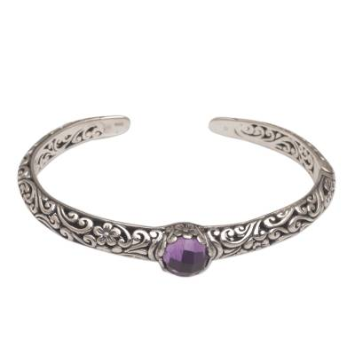 Amethyst cuff bracelet, 'Forest Nymph' - Sterling Silver Floral Cuff Bracelet with Amethyst