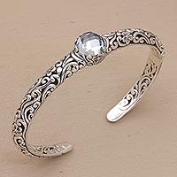 Blue topaz cuff bracelet, 'Forest Nymph' - Blue Topaz and Silver Fair Trade Artisan Crafted Bracelet