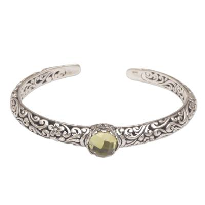 Citrine cuff bracelet, 'Forest Nymph' - Artisan Crafted Sterling Silver and Citrine Cuff Bracelet