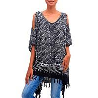 Rayon cold shoulder caftan, 'Bold Jungle' - Black and White Leaf Print Rayon Caftan with Fringe