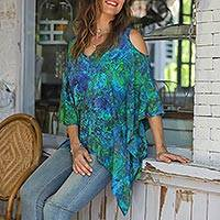 Rayon cold shoulder caftan, 'Rainforest' - Blue and Green Rayon Print Caftan with Hi Lo Hem