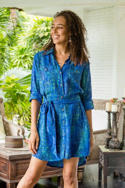 Batik rayon shirtdress, 'Ocean Orchid' - Rayon Batik Shirtdress in Blue and Green Floral Print