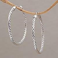 Sterling silver hoop earrings, 'Celuk Circles' (1.7 inch) - Woven Silver Endless Hoop Earrings (1.7 Inch)