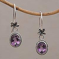 Amethyst dangle earrings, 'Everlasting Blooms' - Handmade Bali Amethyst and Sterling Silver Dangle Earrings