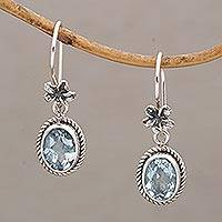 Blue topaz dangle earrings, 'Plumeria Dreams' - Blue Topaz Dangle Earrings with Floral Motifs