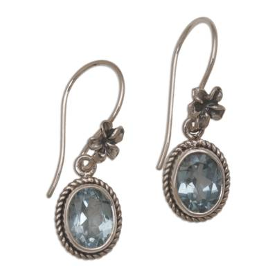 Blue Topaz Dangle Earrings with Floral Motifs