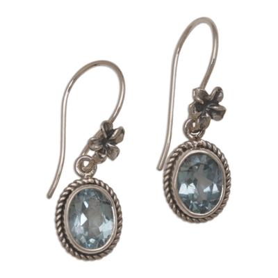 Blue topaz dangle earrings, 'Plumeria Dreams' - Blue Topaz Dangle Earrings with Floral Motifs