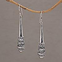 Sterling silver dangle earrings, 'Always Strong' - 925 Sterling Silver Dangle Earrings with Hook Ear Wires