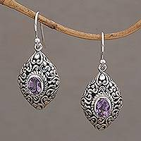 Amethyst dangle earrings. 'Tabanan Tendrils' - Amethyst and Sterling Silver Dangle Earrings from Bali
